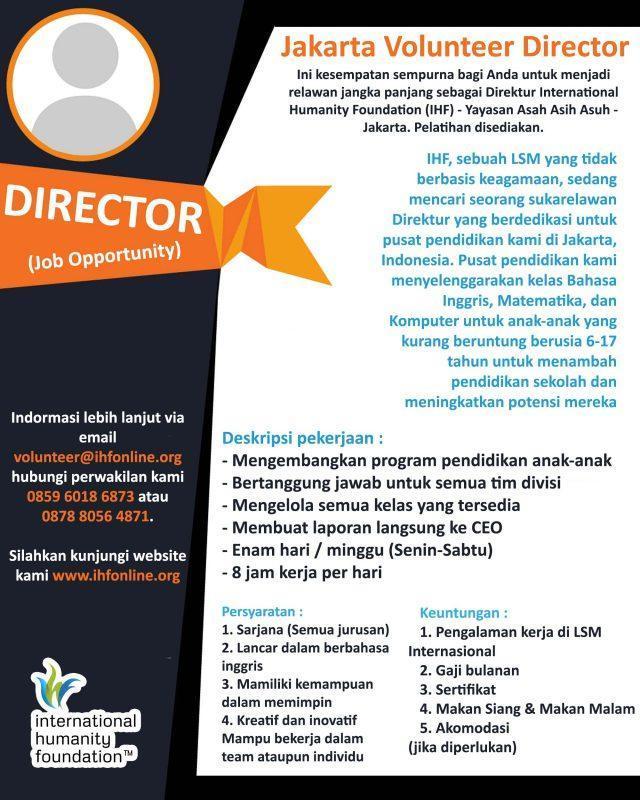 Lowongan Kerja Direktur Di International Humanity Foundation Jakartakerja
