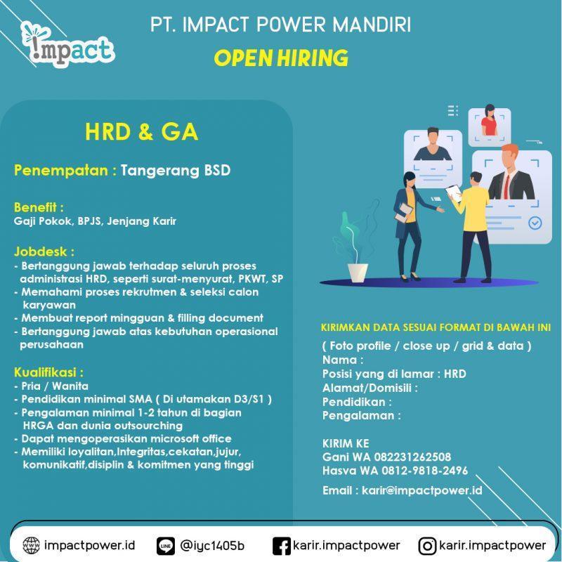 Lowongan Kerja Hrd General Affair Di Pt Impact Power Mandiri Jakartakerja