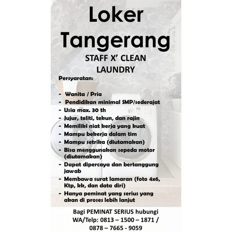 Lowongan Kerja Staff Laundry Di X Clean Laundry Jakartakerja