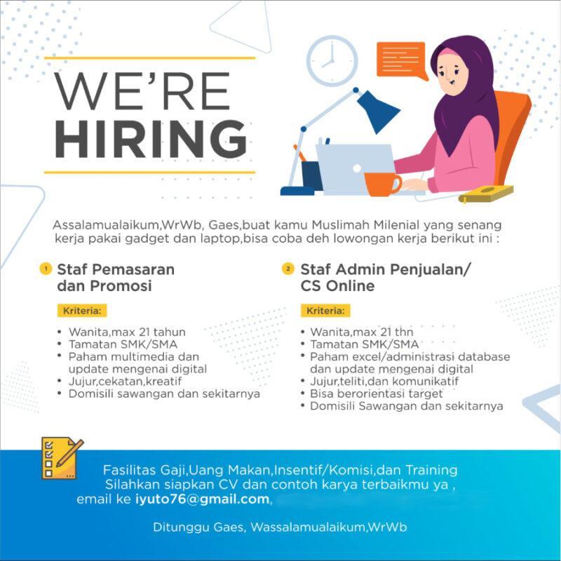 Lowongan Kerja Staff Pemasaran Dan Promosi Staf Admin Penjualan Cs Online Di Zetta Online Store Jakartakerja