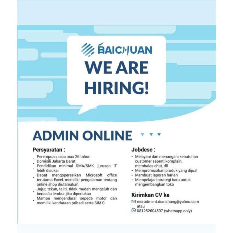Lowongan Kerja Admin Online Di Dianshang Pingtai Jakartakerja