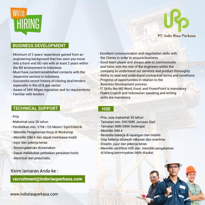 Lowongan Kerja Business Development Technical Support Hse Di Pt Indo Riau Perkasa Jakartakerja