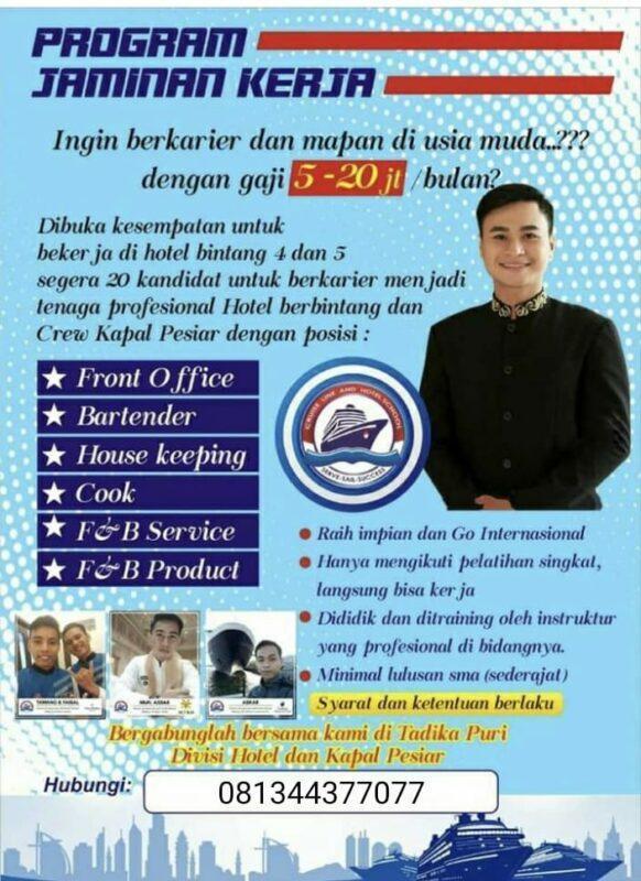 Lowongan Kerja Program Pelatihan Hoteliers Di Tadika Puri Jakartakerja
